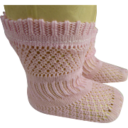 Pair of French pink cotton open weave socks for your antique doll