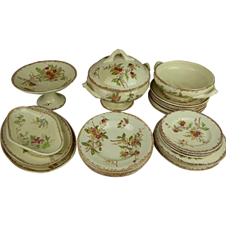 Exceptional  French Child play or Doll Dinner Set , probably Lunéville , with wild roses and ribbons,  19th century, 24 pcs.