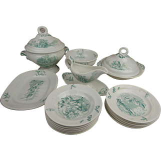 Exceptional transferware  Childplay or Doll dinner Set with beautiful  Grimm Fairy Tales, Butterflies and Dragonflies, Villeroy and Boch, late 19th century.