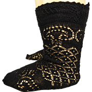 Pair of French black cotton open weave socks for your antique doll