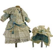 Exquisite French dotted tulle, lace and blue satin antique dolls dress with matching bonnet for Jumeau, Bru, Gaultier, Steiner or other French Bébé