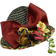 Exceptional French black fine straw hat with colored edging for an antique fashion doll or bébé