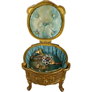 Wonderful French  bronze Vitrine, Jewelry Box  with original blue silk interior for your Fashion Doll.