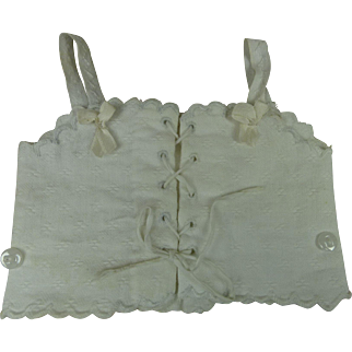 Antique original French white scalloped pique dolls corset