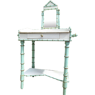 All original antique French turquoise faux- bamboo marble top Wash Stand with tilt mirror,  from the end of the 19th century