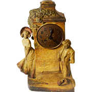 Rare Beautiful Hand Carve and Painted Clock with Lenzkirch Movement