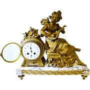 Beautiful Antique French JS Marble Mantel Clock - Woman Playing Musical Instrument