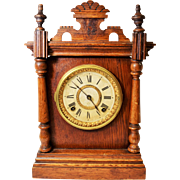 Antique Ansonia Eight-Day Wooden Mantel Clock