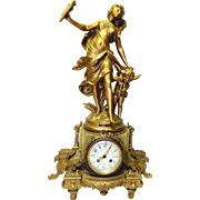 "Antique H&F Paris ""Amour Combattant"" or ""Love Fighter"" Figural Onyx Huntress Display Clock-Excellent, Fully Working! Key and Pendulum"