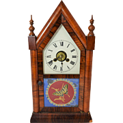 Antique Jerome & Co. New Haven Butterfly One Day Steeple Clock