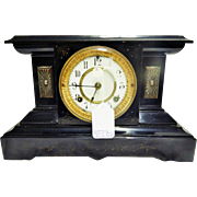 "Beautiful Antique Waterbury Clock Co. ""Milan"" Slate Mantle Clock-Working with Key and Pendulum"