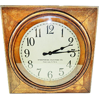 Very Cool Vintage Stromberg Electric Co. Wooden Wall Clock