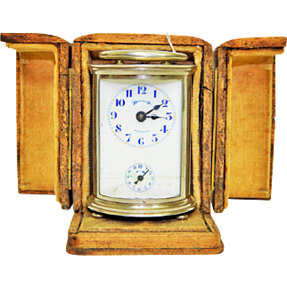 Miniature German Made Footed Repeater Carriage Alarm Clock in Hand Made Wooden Case-Still Working!