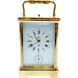 Antique French Lacot Repeater Carriage Alarm Clock-Excellent, Fully Working Condition with Key! Late 1800s-Early 1900s.