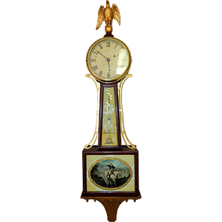 Antique Willard Patriotic Reverse-Painted Hanging Banjo Wall Clock- George Washington Mosaic-Excellent Fully Working Condition Key and Pendulum.