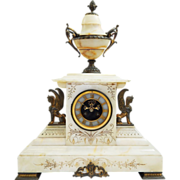 Gorgeous Large Antique Solid Marble Footed Mantel Clock with Open Escapement-Excellent, Fully Working Condition