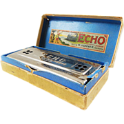 "German Made M. Honer ""Echo Harp"" G-C Harmonica-Still in Original Box! Excellent Condition-1920s"