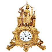 Beautiful Antique Figural French Silk Ornate Shelf/Display Clock-Excellent Fully Working Condition with Key and Pendulum-Late 1800s