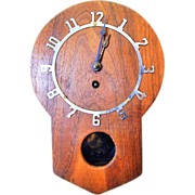 Cute Art Deco Style Hanging Wooden Wall Clock with Built In Key Hanger-Excellent, Fully Working Condition with Key and Pendulum 1920s