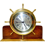 """21) Seth Thomas """"Ship's Wheel"""" Desk Clock with Wooden Base and Brass Stand-Excellent, Fully Working Condition-with Key! Circa Early 1900s"""