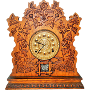 "15.) Antique Gilbert ""Champion M"" Carved Oak Kitchen/Mantel Clock-Excellent, Fully Working Condition with Key and Pendulum! Late 1800s."