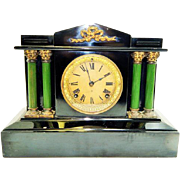 157) Antique Ansonia 4 Pillar Mantel Clock-Excellent Fully Working Condition with Key and Pendulum-Late 1800s