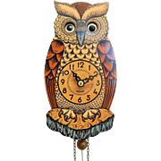 Adorable Owl Pendulette/Cuckoo Clock-Animated Eyes-Excellent Condition, Works Perfectly!
