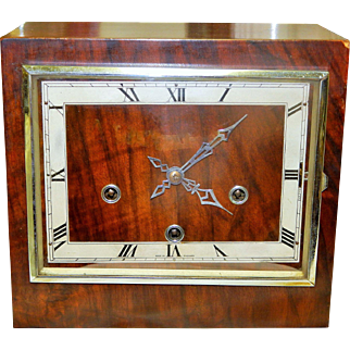 Enfield Wooden Shelf Clock with Square Bezel and Face-Excellent, Fully Working Condition with Key and Pendulum!