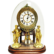 Beautiful Antique Ansonia Crystal Palace Figural Display Clock with Glass Dome-Excellent, Fully Working Condition with Key and Pendulum