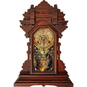 2) Antique Carved Oak Kitchen Clock with Built in Dinner Bell-Excellent, Fully Working Condition with Key and Pendulum! Circa Late 1800s