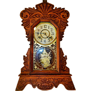 5) Gorgeous Antique New Haven Carved Oak Kitchen Clock-Excellent, Fully Working Condition with Key and Pendulum! Circa Late 1800s