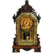 176) Beautiful All Original Antique Ingraham Kitchen Clock with Key and Pendulum-Excellent, Fully Working Condition!