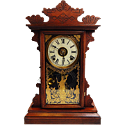 "177) Lovely Antique E.N. Welch MFG Co. Forestville ""Linda"" Model Carved Kitchen Clock. Excellent, Fully Working with Key and Pendulum!"