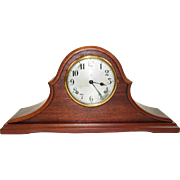 195) Beautiful Antique Gilbert Inlaid Wood Mantel Clock-EXCELLENT Fully Working Condition with Key and Pendulum!