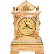 202) Lovely Antique A. Stowell & Co. Neutral Marble and Gold Ornate Gilded Mantel Clock-Circa Late 1800s
