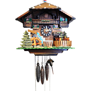 44) Antique Hand Crafted German Made Regula Animated Musical 3 Weight Cuckoo Clock-Swiss Musical Movement with Weights and Pendulum!