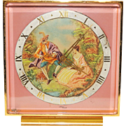 218) Beautiful Vintage Swiss Made IMHOF Hand Painted Desk Clock-Excellent Fully Working Condition!