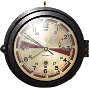 Antique Chelsea Submarine Engine Room Clock. This is a RARE Chelsea ships clock. It has the silvered, and red dial. It's in a bakelite case. All original, and working perfectly. This would be a great addition to any clock collection. It measures