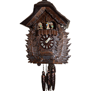 Black Forest Hand Carved Cuckoo Clock with Music Box and Carousel Animated