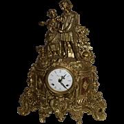 Vintage Imperial Bronze and Wood Mantle Clock