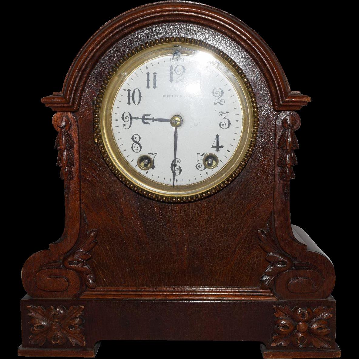 Antique Seth Thomas Wooden Mantle Clock on Ebonized Oak