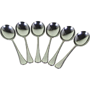 Vintage Sterling Silver Set of 6 Soup Spoons, Feather Edge