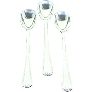 Silver Set of 3 Long Ice Cream Spoons, Louis Seize