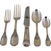 Richly Chiseled Sterling Silver 5-pc Place-Setting, 38- Blois