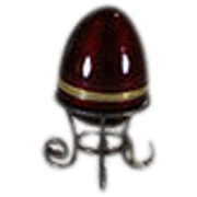 Sterling and Red Enameled Egg with Gilt Stand