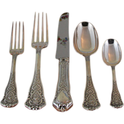 Superbly Chiseled Sterling Silver 5-pc Place-Setting, 57- Chambord