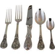 Admirable Sterling Silver 5-pc Place-Setting, 58- Montpoupon