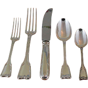 Richly Chiseled Sterling Silver 5-pc Place-Setting, 65- Châteaudun