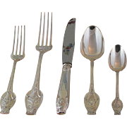 Art Nouveau Sterling Silver 5-pc Place-Setting, 84- Touraine