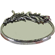 Sterling Silver Oval Purse Double Side Mirror with Branch Decoration